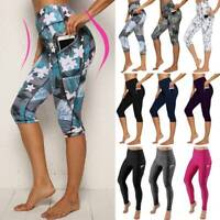 Women High Waist Capri YOGA Pants Pockets Gym Sports Fitness Cropped Leggings G1