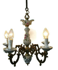 Romantic Capodimonte style chandelier 5 arm Lights Brass Porcelain Flowers