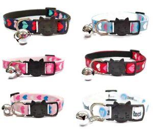 Cat Collars with Bell - Love Heart Print   Pet Collars   Quick Release Buckle