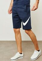 Men's Nike Logo Fleece Winter Shorts - Sports Gym - Navy