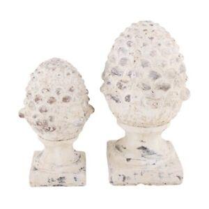 VALO Zapfen Pinie Shabby Chic Landhaus Deko Pinienzapfen Keramik Zement  H 36 cm
