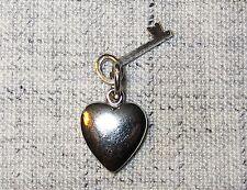 & Key Vintage Silver Charm Pendant Love Power! Sweet 3-D Puffy ♡ Heart