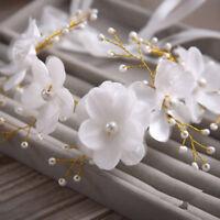 Bridal Wedding Pearl Garland Lace Flowers Hair Headdress Accessories Headband