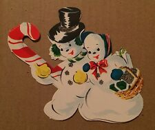 VINTAGE 1950s CANDY CANE TREE HANGER CHRISTMAS CARD FROSTY THE SNOWMAN AND MRS
