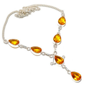 """Aaa+++ Citrine Gemstone 925 Sterling Silver Necklace Jewelry 16-17.99"""" S1989"""