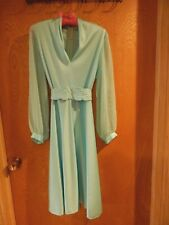 Vintage 1970s Chiffon Soft Aqua Dress Pretty Details Beaded Sash sz 12 ex cond