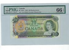 1969 $20 BC-50aA *EA Replacement Bank of Canada Note; PMG GEM UNC 66 EPQ