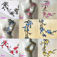 Iron on Blossom Plum Appliqué Embroidery Flower Vines Patch Motif Embellishment