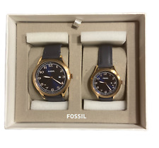 NEW Fossil BQ2470SET His & Her Wylie Three-Hand Navy Leather Couples Watch Set
