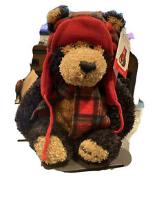 """Gund Black and Brown Bear with Hat and Scarf Named Teddy B. Caring #46074 16"""""""