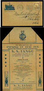 "US 1937 Ad Cover - S.S.Tango - ""Night Club, Largest Pleasure ship""- Dinner MENU"