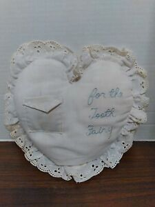 """Vintage For The Tooth Fairy Pillow with Pocket Blue Writing 9"""" x 9"""" (1985?)"""