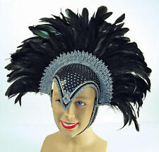 Black Silver Feather Helmet Las Vegas Show Girl Drag Queen Carnival Fancy Dress