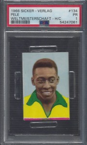 1966 Pele Card PSA 1 Sicker Verlag Pele Weltmeisterschaft # 134
