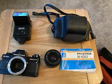 Praktica B100 35mm Camera ,Pentacon Wide Angle Lens Praktica Flash And Case.