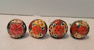 4 HAND PAINTED  DRAWER CABINET PULLS KNOBS VINTAGE  SHABBY CHIC HARDWARE