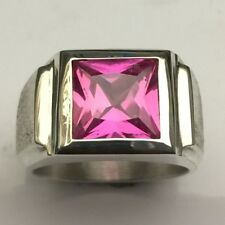 MJG STERLING SILVER MEN'S RING.10 X 10MM  SQUARE  LAB PINK SAPPHIRE. SZ 10