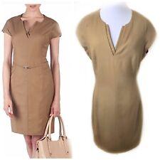 Ted Baker Large Tan Sheath Dress Nimid Virgin Wool V Neck $195