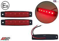 2x 12v LED red side rear tail marker lights lamps for trailer truck lorry E-mark
