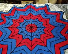 """Spiderman Blanket Crochet 60"""" Web Shaped Inspired Blue Red Handmade"""