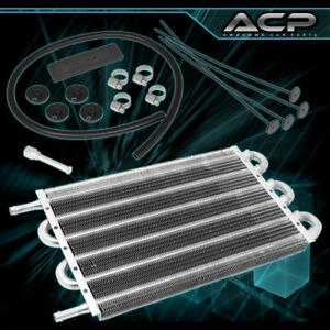 High Performance Universal Power Steering Tranny Transmission Oil Cooler Silver