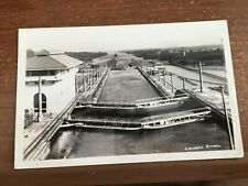 c 1940 RPPC:Lock Gates in Operation,Miraflores Panama Canal &1 Cent stamp CANAL