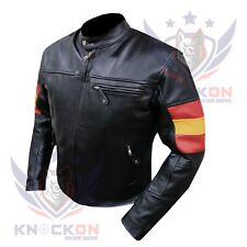LEATHER BIKER JACKETS FOR MEN. 4600 Spain FLAG Thick Cowhide Race Armoured Coat
