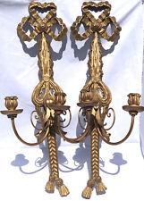 ANTIQUE PAIR OF ITALIAN FLORENTINE HAND CARVED CANDELABRA SCONCE GOLD GILT WOOD