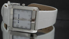 Givenchy GV.5200L/03A Women's Slim White Leather Band Silver Tone Watch