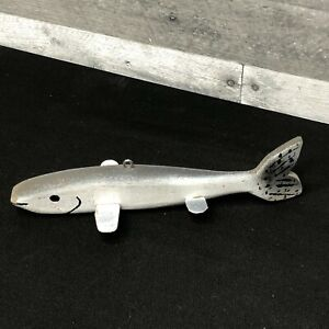 """Vintage Hand-Painted Gray 8"""" Carved Wooden Ice Fishing Decoy with Metal Fins"""