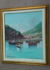 Marina con barche olio su tela di mario maresca serra 1912-1991 mis tot 75x65