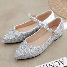 Comfort Pointed Toe Women's Sequins Shoes Buckle Ballerinas Flats Low Heels