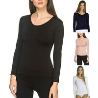 Womens Ladies Plain Tshirt Ladies Long Sleeve Scoop Neck Stretch T Shirt Top