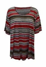 New Women Ladies Short Sleeve Stripe Casual Scoop Neck Top Plus Size 16-26