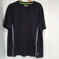 Fila Sport Mens Performance Running T-Shirt Black Gray Panel Crew Neck Shirt L