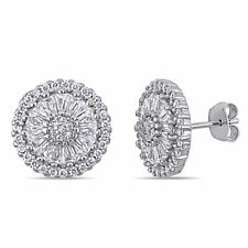 Amour Sterling Silver Cubic Zirconia Floral Cluster Halo Stud Earrings