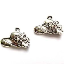 20 Tibetan Silver 14x10mm Hat Charms Antique Silver