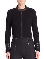 Nanette Lepore Zodiac Jacket Leather Trim Cropped Black Plum Zip NWT 14