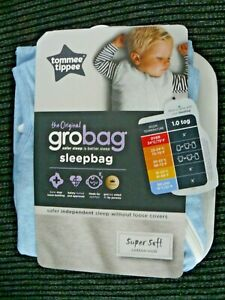 Tommee Tippee Grobag Sleepbag  6-18 Months 100% Cotton Blue Marl. 1 Tog, New Tag