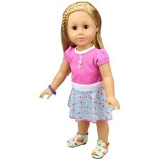 """18"""" Doll Clothes Dress Pink Blue Floral Fits American Girl Dolls"""