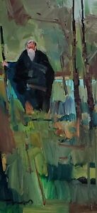 JOSE TRUJILLO Oil Painting IMPRESSIONISM OLD MAN WOODS VERTICAL SIGNED NR COA