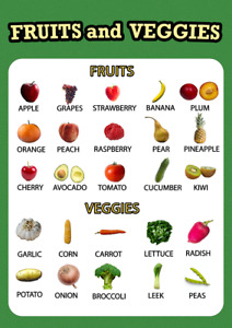 Fruits & Vegetables Educational Pre-school Wall Poster for Kids Learning A3/A4