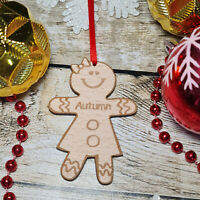PERSONALISED GINGERBREAD LADY CHRISTMAS TREE DECORATION BAUBLE XMAS GIFT WOODEN
