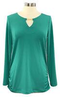 SUSAN GRAVER size S jasper jade Liquid Knit long sleeve side ruched keyhole top