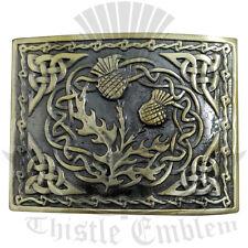 Scottish Thistle Belt Buckle Antique Finish/Celtic Thistle Knot Work Kilt Buckle