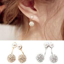 Women Crystal Pearl Ear Studs Double Sided Rhinestone Jewelry Earrings Studs Hot