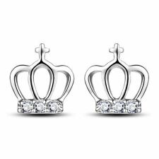 925 Silver Plt Royal Crown Crystal Stud Earrings Princess Tiara King Diva A