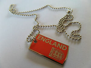 'ENGLAND' OFFICIAL FA RED 3 LIONS  LOGO SINGLE DOG TAG 52 cm BALL CHAIN new