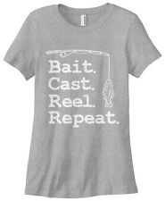 Threadrock Women's Bait Cast Reel Repeat T-shirt Funny Fishing