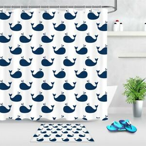 """Abstract Little Blue Whales Pattern Fabric Shower Curtain Set Bathroom Decor 72"""""""